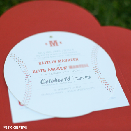 Boston Vintage Baseball Theme Wedding Invitations