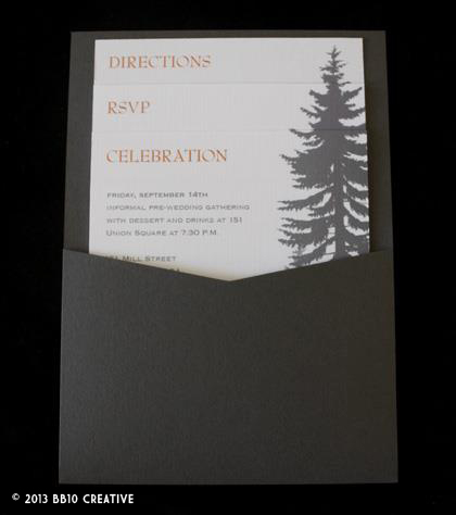 gray and orange wedding invitations, fall theme