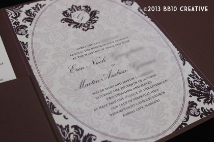 eggplant edwardian style wedding invitations