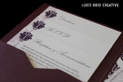 eggplant edwardian wedding invitations