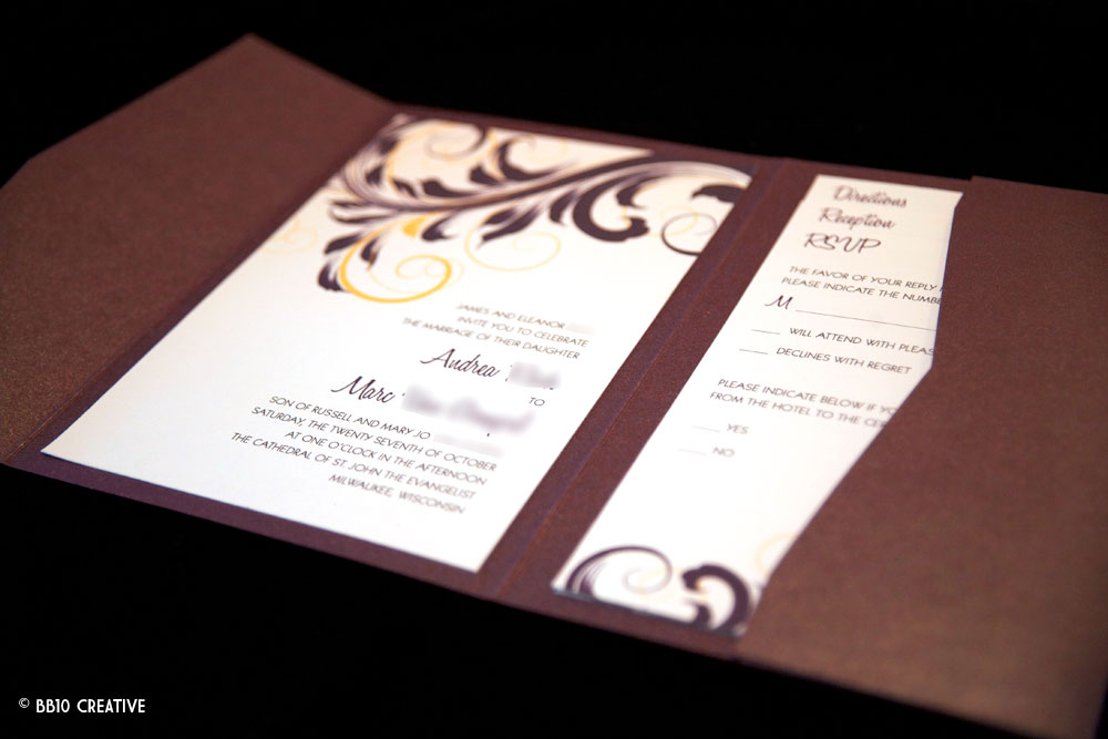 Creative Eggplant Color Wedding Invitations