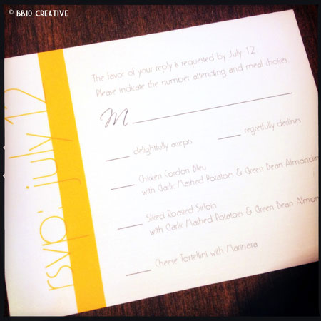 Modern Gray and Yellow Monogram Wedding Invitations
