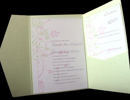 pink and green wedding invitations