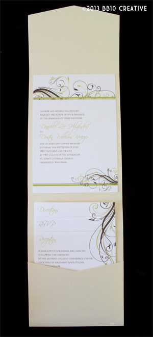 Pear Green, Brown Wedding Invitations