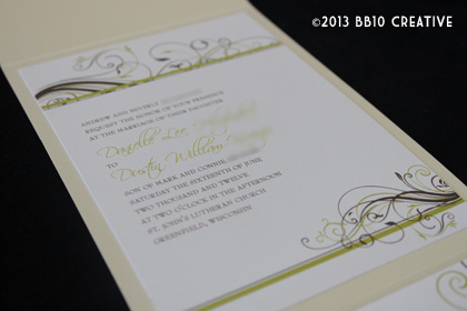 Pear Green, Champagne Wedding Invitations