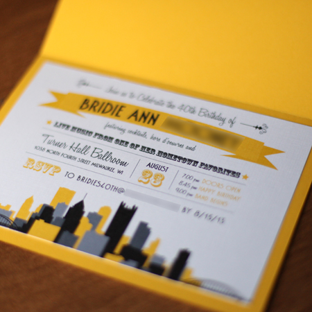 Creative Birthday Invitations Pittsburgh Theme 40th Creative