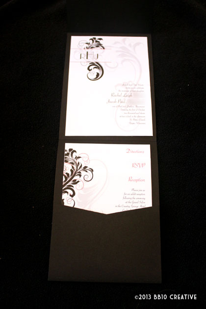 Vintage Black and Red Wedding Invitations