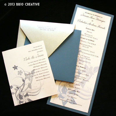 Slate Blue And Silver Wedding Invitations