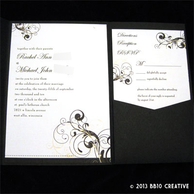 Milwaukee Wedding Invitations Black and Ivory September Wedding