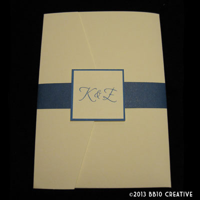 invitation for their wedding using royal blue as the main color